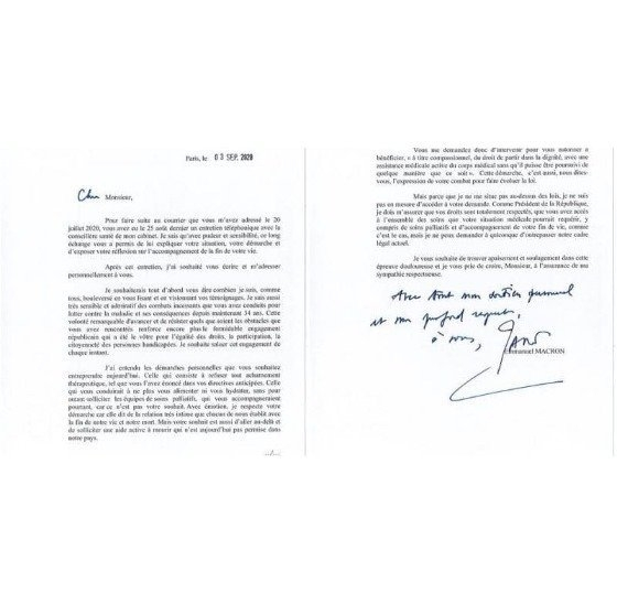 에마뉘엘 마크롱 프랑스 대통령이 알랭 콕의 안락사 요청 편지에 보낸 답신. 콕은 34년째 불치병을 앓고 있다. [페이스북 캡처]